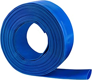 1.5'' x 100 FT Heavy Duty Reinforced PVC Lay Flat Discharge and Backwash Hose for Swimming Pools
