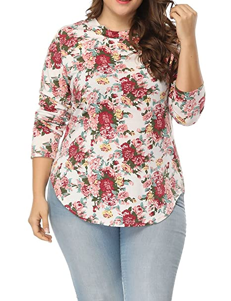 c744f3f7 Amazon.com: Allegrace Women's Plus Size Printed Floral T Shirts Long Sleeve  Casual Tee Tops White 2X: Clothing