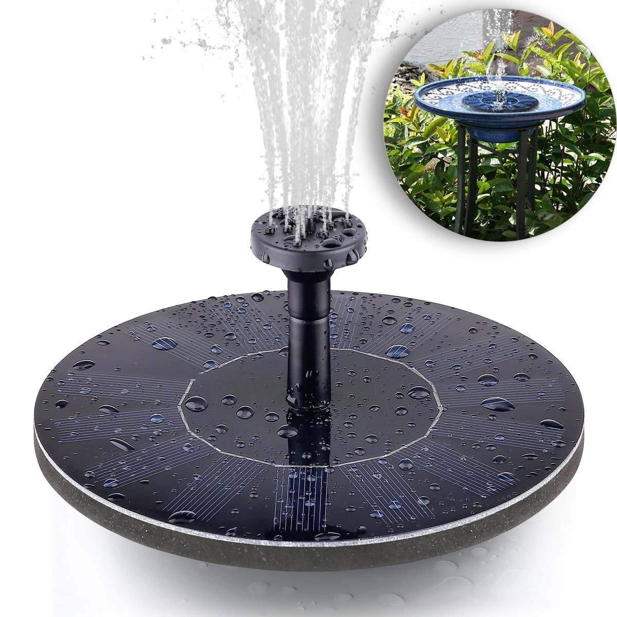 LEDemain Solar Power Fountain Pump Kit Perfect for Bird Bath, Birdbath Pond Pool Fish Tank, Garden Decoration - 1.4W (Birdbath & Stand Not Included)