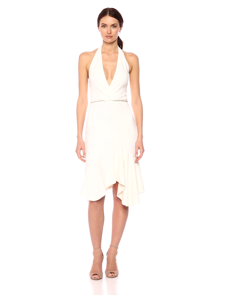 Halston Heritage Women's Sleeveless Halter Dress with Embellished Waist