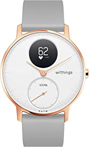 Withings Steel HR Hybrid Smartwatch - Activity, Sleep, Fitness and Heart Rate Tracker with Connected GPS, White, Grey Silicone - 36mm (36white - RG - S. Grey-All-Inter)