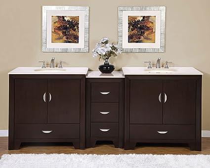 Silkroad Exclusive Marble Top Double Sink Bathroom Vanity With Dark Walnut  Finish Cabinet, 89
