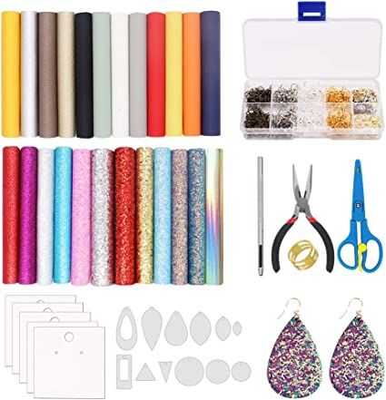 24 Pieces Leather Earring Making Kit Include Instructions 4 Kinds of Faux Sheet