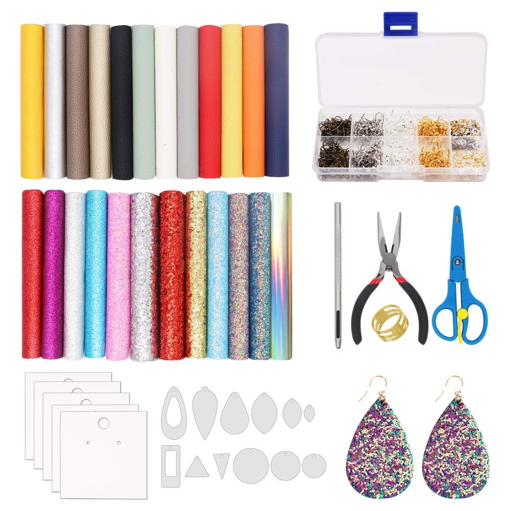 Alritz Leather Earring Making Kit 24 Pieces Litchi and Glitter Faux Leather Sheets, Jumps Rings, Earring Hooks, Templates, Display Cards for Making Leather Earrings Bows and Crafts by Alritz