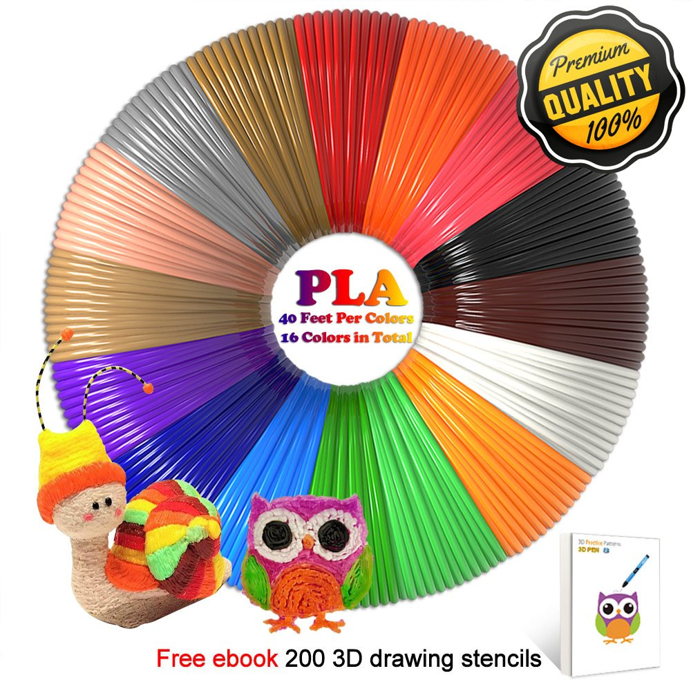 3D Pen Filament Refills PLA 16 Colors 40 Feet 1.75mm with 200 Stencils eBook Total 640 Feet 3D Art Pen Filament for TIPEYE, Canbor, MYNT3D, DigiHero, Zerofire, Dikale, BeTIM 3D Printing Pen and etc by TIPEYE (Image #1)