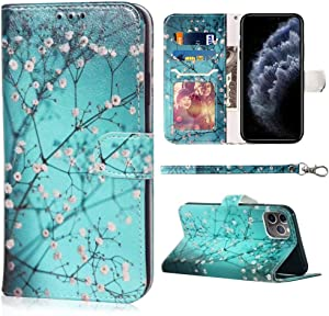 Compatible with iPhone 11 Pro Max Wallet Case,JanCalm Floral Pattern Premium PU Leather [Wrist Strap] [Card/Cash Slots] Stand Feature Flip Cases Cover for iPhone 11 Pro Max Case (Plum Blossom)