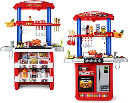 Amazon Com Cute Stone 2 In 1 Kids Kitchen Grill Playset Large Play Kitchen With Realistic Lights Sounds Play Sink With Running Water Kitchen Toy Set With Play Food And Kitchen Accessories Set Toys