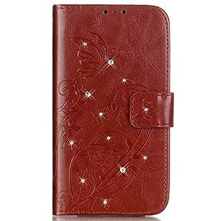 Surakey Compatibile con Samsung Galaxy S8 Plus Cover in Pelle Flip Libro Portafoglio Custodia Glitter Strass Goffratura Farfalla Magnetica Cover con Porta Carte e Funzione Stand,Marrone