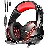 ゲーミングヘッドセット ps4 ヘッドセット マイク付き ヘッドホン 高音質 サラウンド ヘッドフォン 有線 スイッチ switch FPS ゲーム用 PC パソコンに対応 男女兼用 レッド