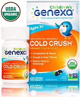 Genexa Homeopathic Cold Crush for Children: The Only Certified Organic Kids Cold & Cough Medicine. Physician Formulated