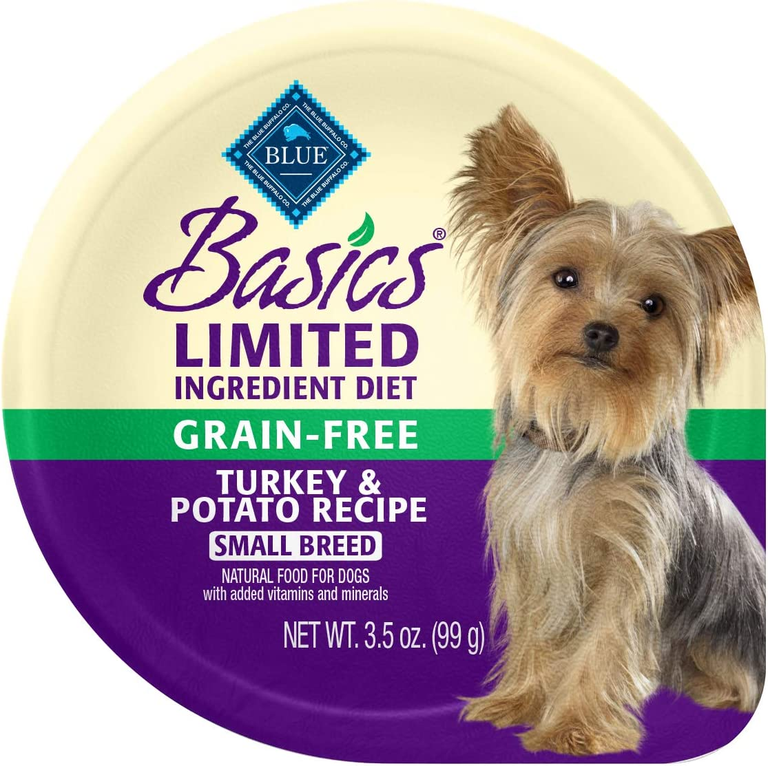 Blue Buffalo Basics Limited Ingredient Diet, Grain Free Natural Adult Small Breed Wet Dog Food Cups, Turkey 3.5-oz (Pack of 12)