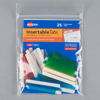 Avery Insertable Index Tabs W//Printable Inserts 1 1//2 Clear Tab White 25//pack