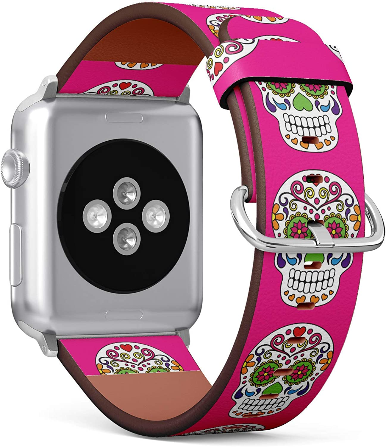 (Day of The Deal Sugar Skull) Patterned Leather Wristband Strap for Apple Watch Series 4/3/2/1 gen,Replacement for iWatch 42mm / 44mm Bands