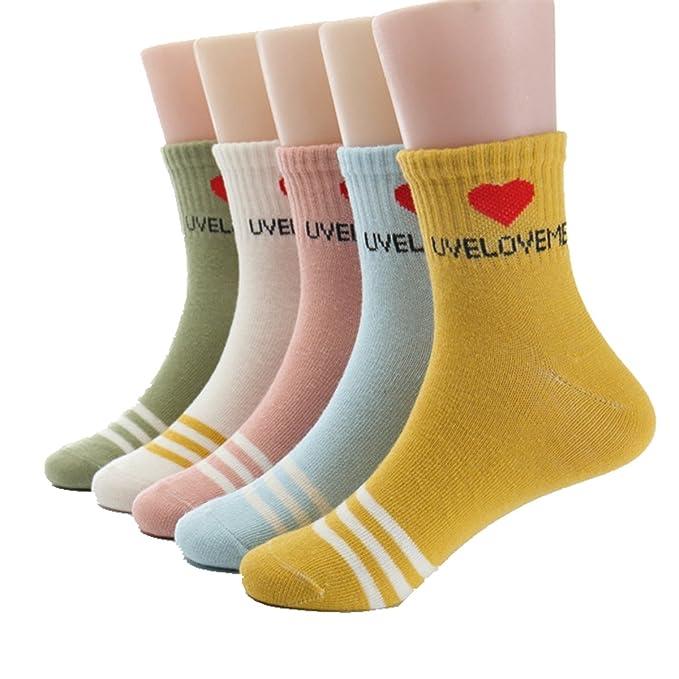 Chicas Calentar Calcetines gruesos Algodón Suave rojo Corazón Calcetines para niños pequeños 5 pares