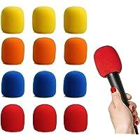 GLOBALDREAM Filtro Antiviento Microfono, 12 Piezas Esponja Microfono Cubierta de Micrófono, Perfecto para Grabación, 2…
