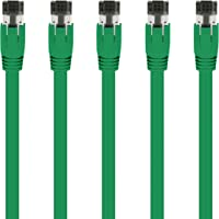 GearIT Cable Ethernet Cat8 S/FTP (2,13m/Paquete de 5/Verde) Cable 24AWG 10 Gbps/25 Gbps/40 Gpbs 2 GHz 2000 MHz Cat 8 Categoría 8 - Compatible con Centro de Datos/Red Empresa/Doméstica