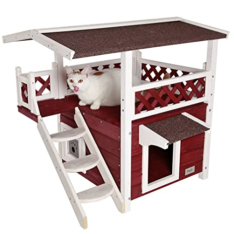 petsfit al aire libre gato casa de madera Lodge, ideal Cat condominio, resistente al