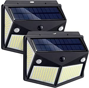 Solar Outdoor Lights, 260 LED Solar Motion Sensor Lights Solar Security Lights, IP65 Waterproof Solar Powered Lights Solar Wall Light with 3 Lighting Mode for Garden, Patio, Garage, Yard (2 Pack)