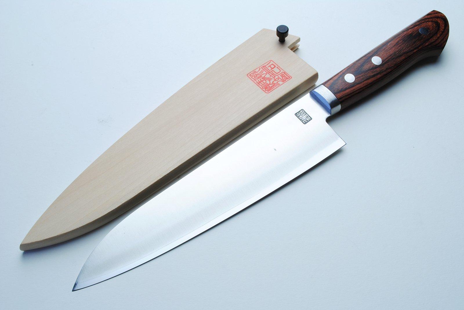 Yoshihiro VG-1 Gold Stainless Steel Gyuto Japanese Chef Knife 7'' (180mm) Magnolia Wood Saya Cover by Yoshihiro (Image #3)