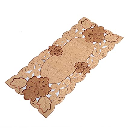 Kuber Industries Embroidered Cotton Table Runner - Cream