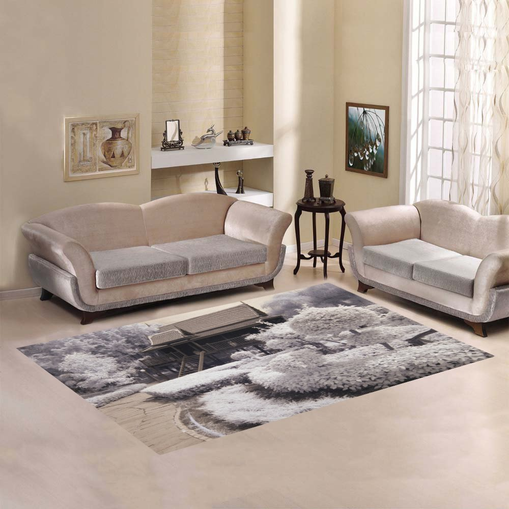 Love Nature Sweet Home Modern Collection Custom Old- Styled Thai House Area Rug 7'x5' Indoor Soft Carpet
