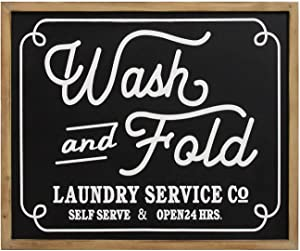 "Stratton Home Décor Stratton Home Wash and Fold Wall Decor Laundry Sign, 24.00"" W X 0.75"" D X 20.00"" H, Black, White"