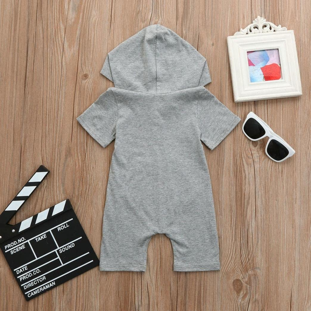 Jarsh New Summer Infant Toddler Boys Girls Gray Short Sleeve Hooded Jumpsuit with Zipper Baby Clothes