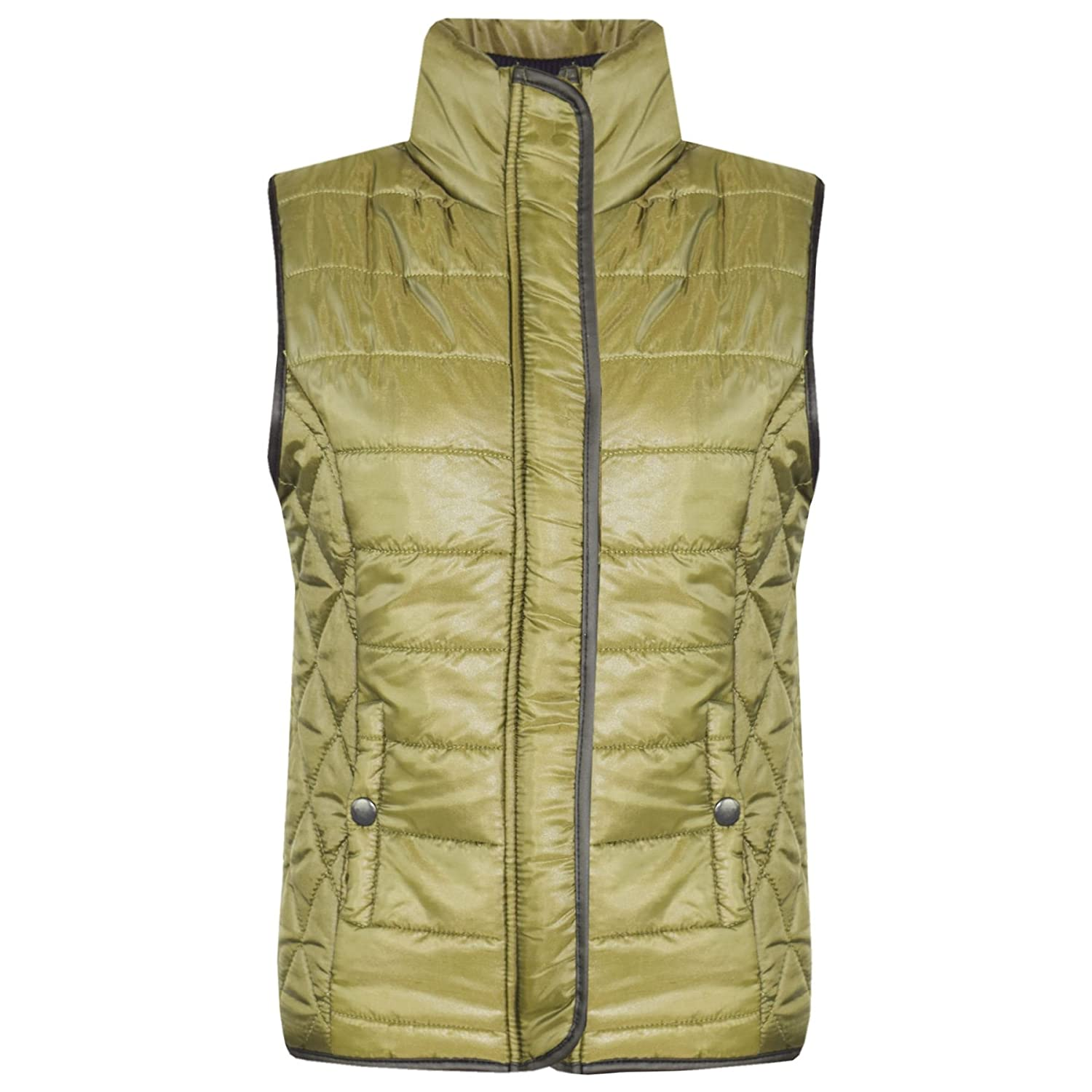 Kids Girls Boys Olive Wet Look Sleeveless Lined Padded Gilet Body Warmer Jackets