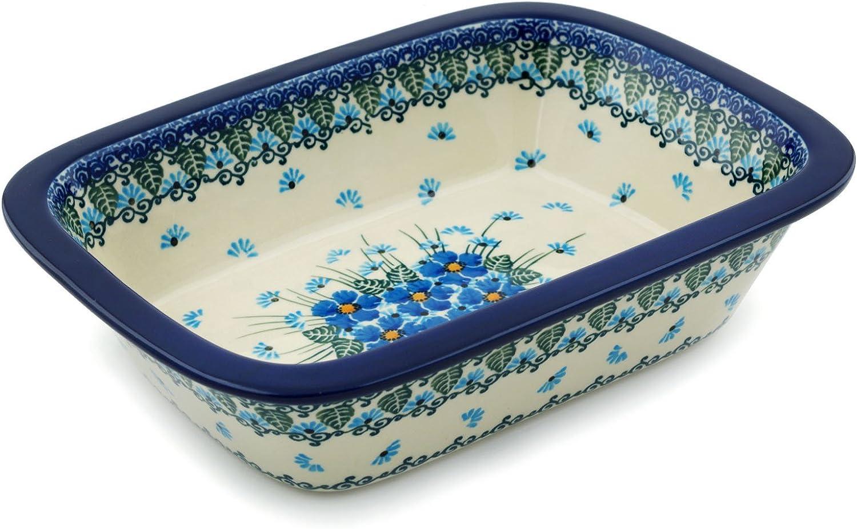 Polish Pottery Rectangular Baker 10-inch Forget Me Not made by Ceramika Artystyczna