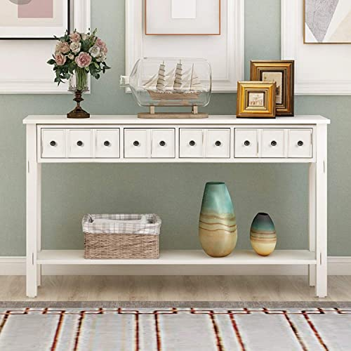 P PURLOVE 60 Inch Console Table SofaTable with 4 Drawers EntrywayTable with Bottom Shelf for Living Room Antique White