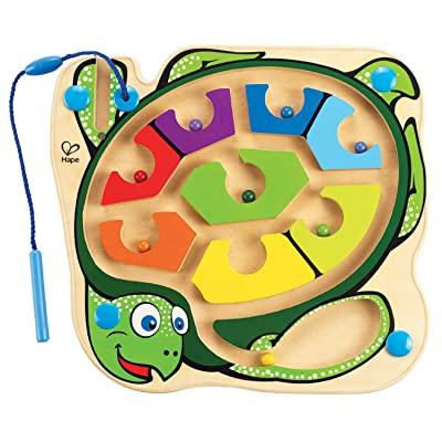 Award Winning Hape Totally Amazing Colorblock Sea Turtle Kid's Magnetic Wooden Bead Maze Puzzle: Toys & Games