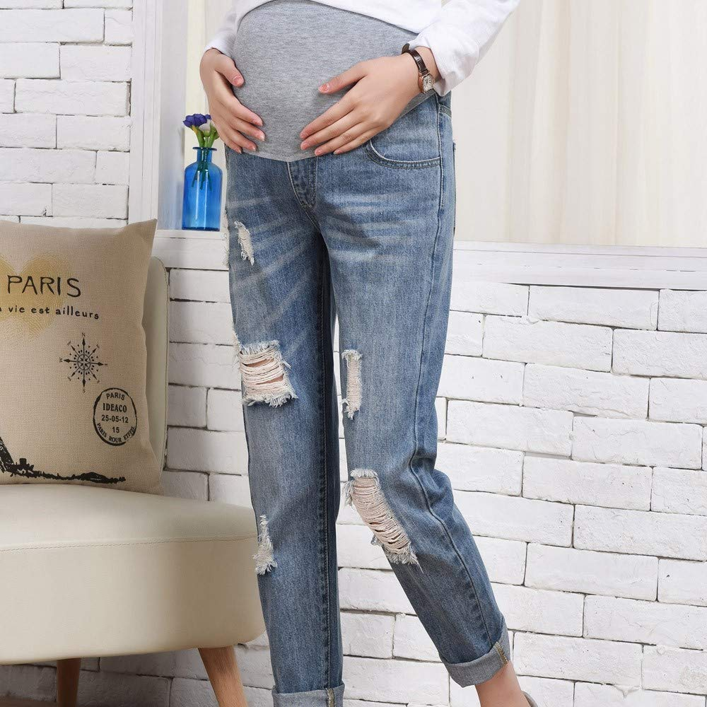 efb22077cb9 Amazon.com  XINHUXIN Pregnant Ripped Jeans