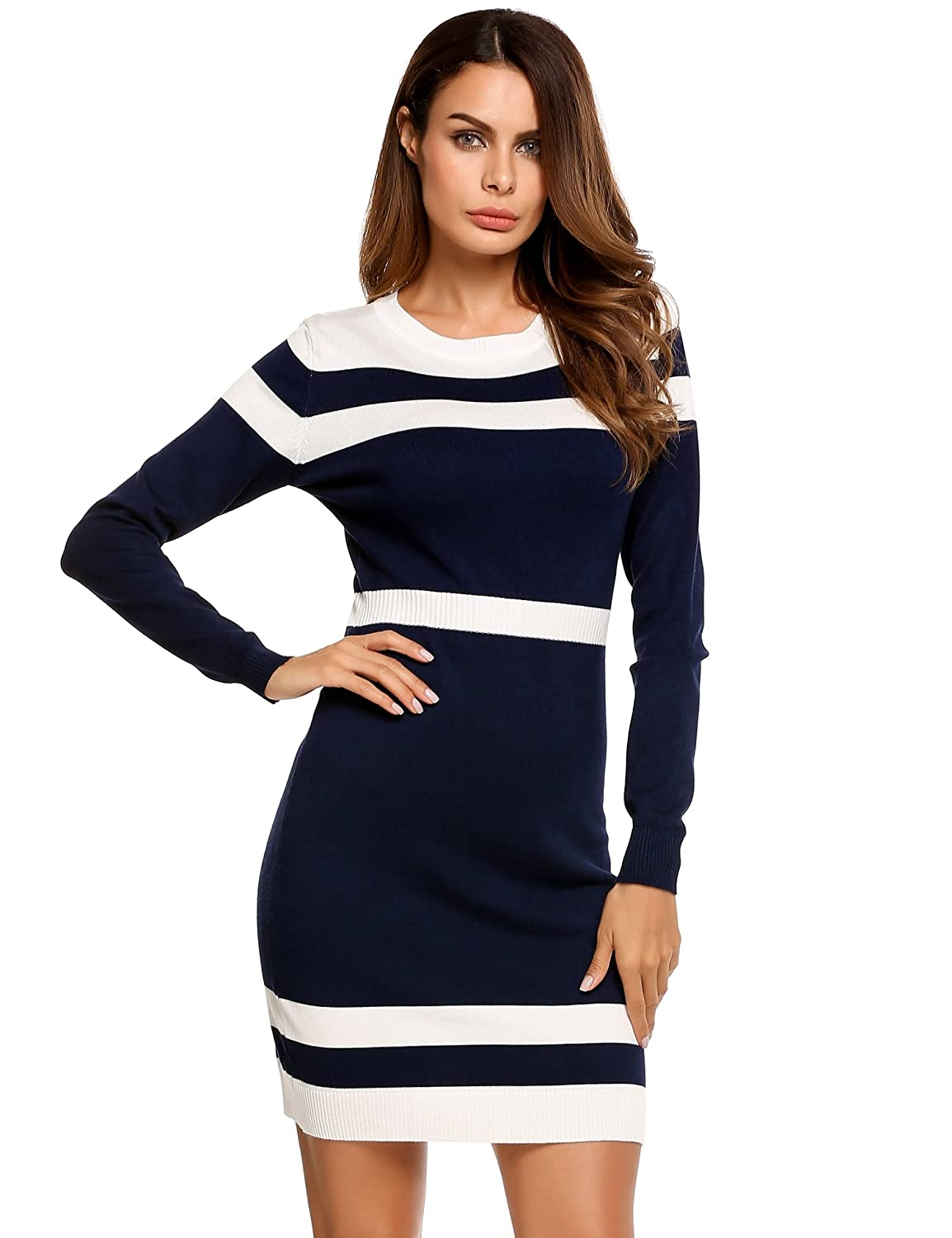 c6f4ce6dab5 Beyove Women s Colorblock Striped Long Sleeve Cotton Knit Sweater Bodycon  Dress at Amazon Women s Clothing store