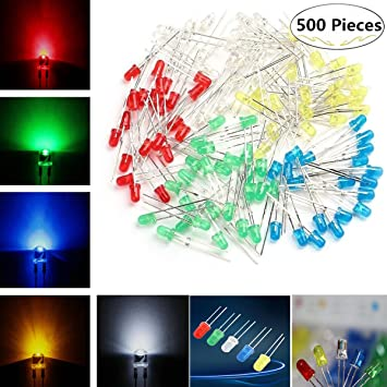 5mm Diffused Led Diode Assortment Kit Pack Of Assorted Color Leds And Resistors Light Emiting Diode Indicator Lights Attractive And Durable Led Modules