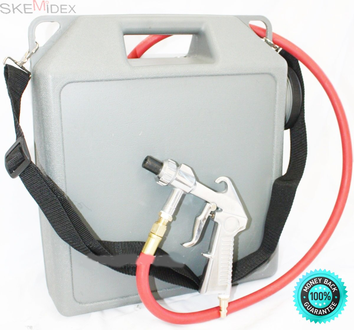 SKEMiDEX---PORTABLE AIR SAND BLASTER AIR CLEANER CLEANING TOOL WITH HOSE AND GUN NEW. Hardened steel nozzle & shoulder strap included Works with glass beads, sand, and aluminum oxide
