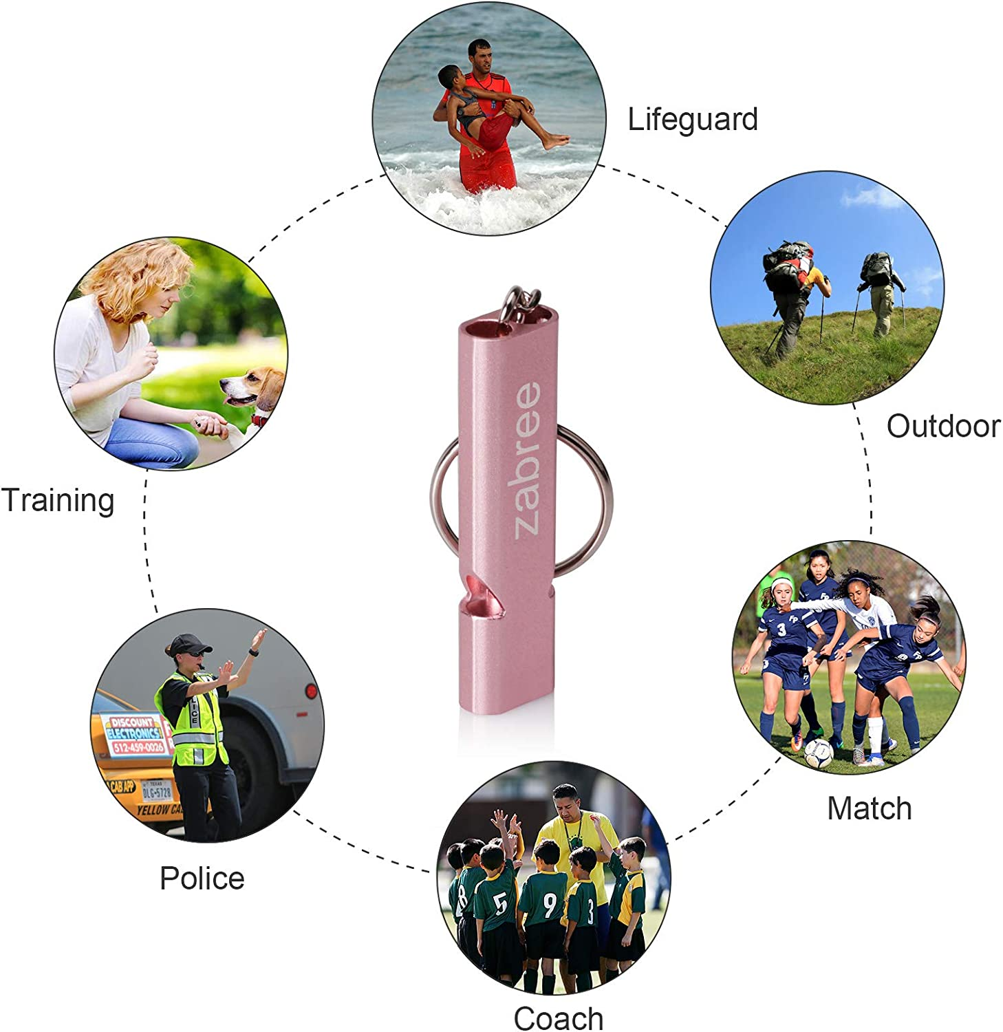 Aluminum Alloy Survival Whistles for Coaches Zabree Emergency Whistle Pets Training 120DB Whistles with Lanyard Outdoor Activities
