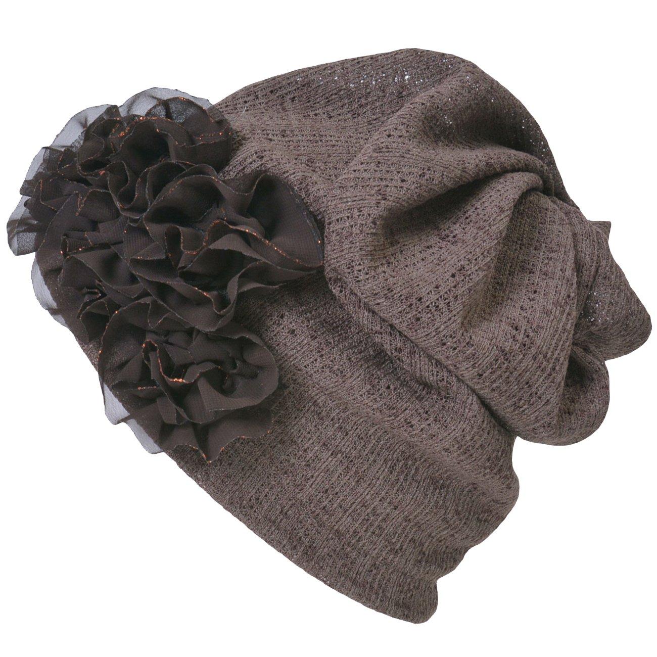 Casualbox Womens Flower Headband Neck Warmer Beanie Hat