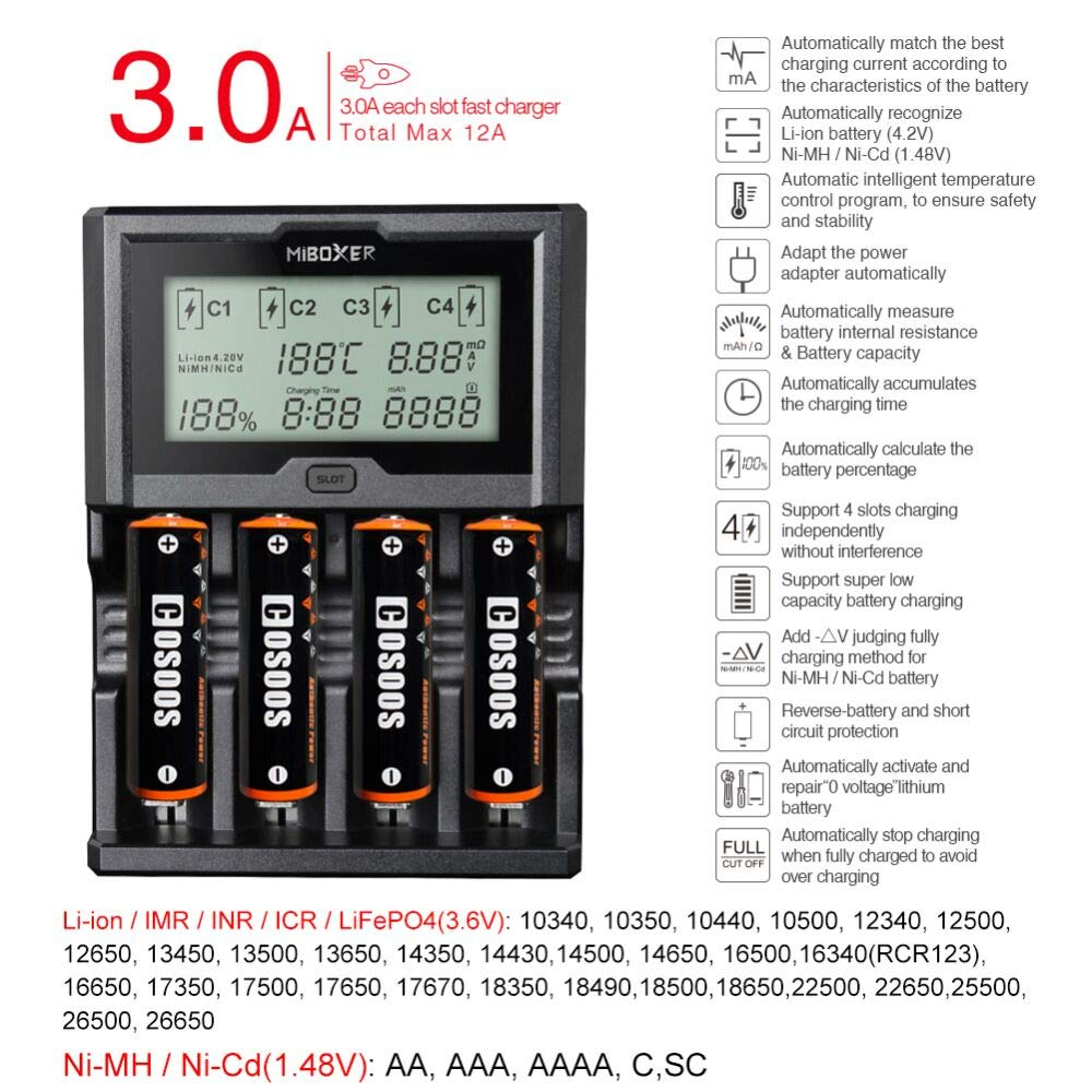 Cosoos Battery Charger Lithium Fast Charging Circuit Batterycharger Powersupply