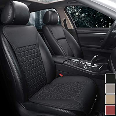 Black Panther 1 Piece Luxury PU Leather Front Car Seat Cover Protector Compatible with 95% Cars (Sedan/SUV/Pickup/Van), Triangle Quilted Design - Black: Automotive