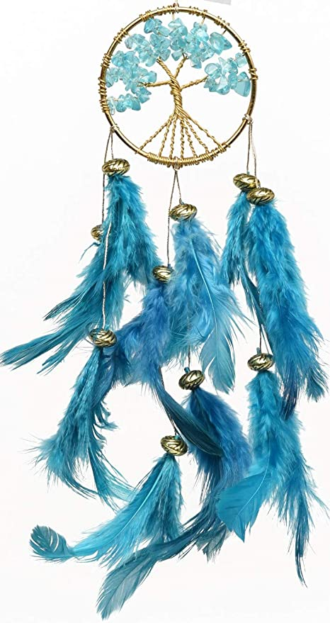 Rooh Healing Tree Brass Dream Catcher Turquoise Blue- Used as Home D�cor Accents, Wall Hangings, Car, Bedroom, (L- 5.3 cm x H -20 cm)