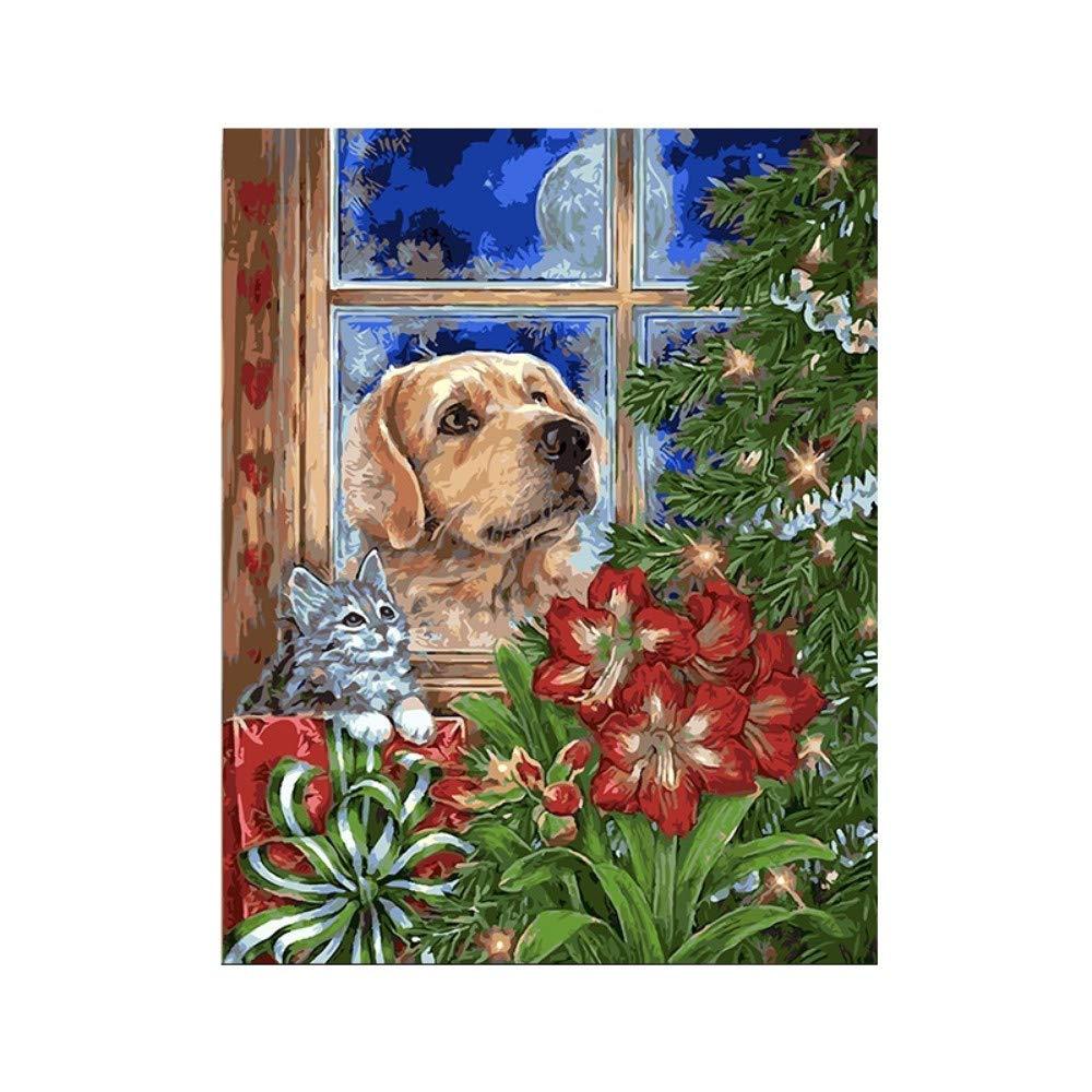 Yyboo DIY Malen Nach Zahlen Digital Canvas Ölgemälde Geschenk Erwachsene Kinder Kits Home Decorators - Kätzchen Welpen (Holzrahmen) B07PJS1TXX | Qualität Produkt
