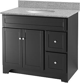 Foremost WREAT3621D 8M Worthington 36 Inch Espresso Bathroom Vanity With  Meteorite Gray Granite Top