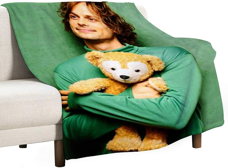 "Aoxinquji Criminal Minds - Matthew Gray Gubler Flannel Fleece Blanket Lightweight Super Soft Warm Cozy Luxury Throw Blanket Home Decor for Couch, Bed, Sofa, Travel. 60""x50"""