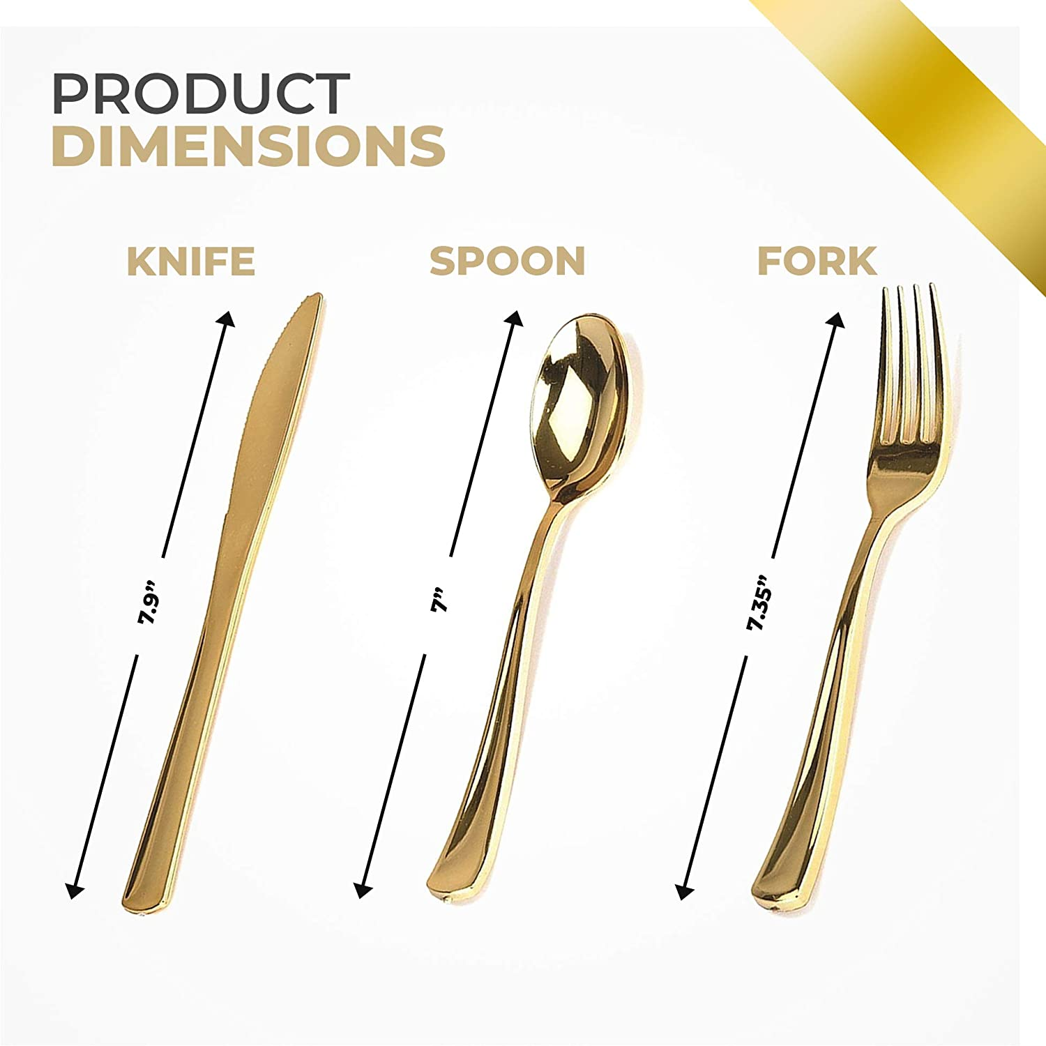 Shower Premium Plastic Cutlery Shiny Metallic Gold All Occasion Party Wedding Service For 100 At 68 Cents Per Place Setting!