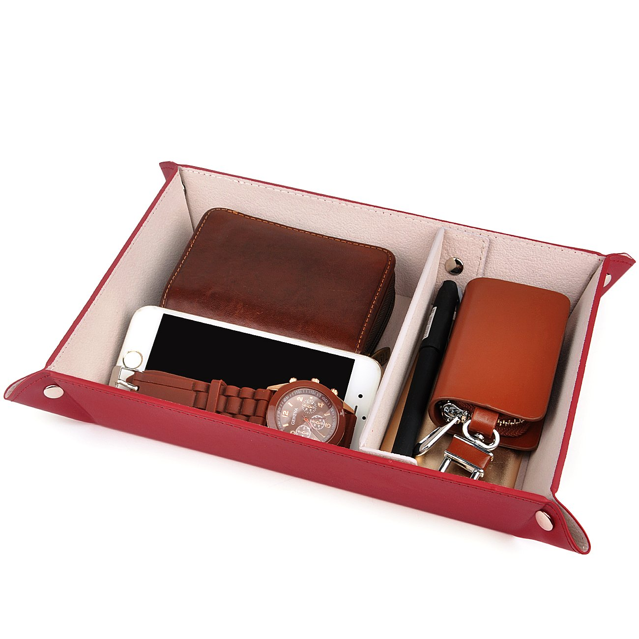 Valet Tray,Watch Case for Storage,PU Leather Coin Change Key Tray Jewelry Organizer Winered