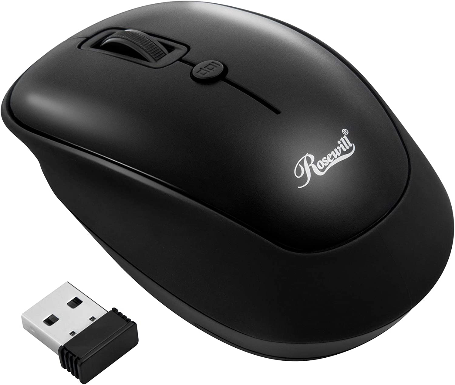 Rosewill RWM-001 Portable Cordless Compact Travel Mouse, Optical Sensor, USB Wireless Receiver, Adjustable DPI, 4 Buttons, Office Style for Laptop, Notebook, PC, Computer, MacBook, Black