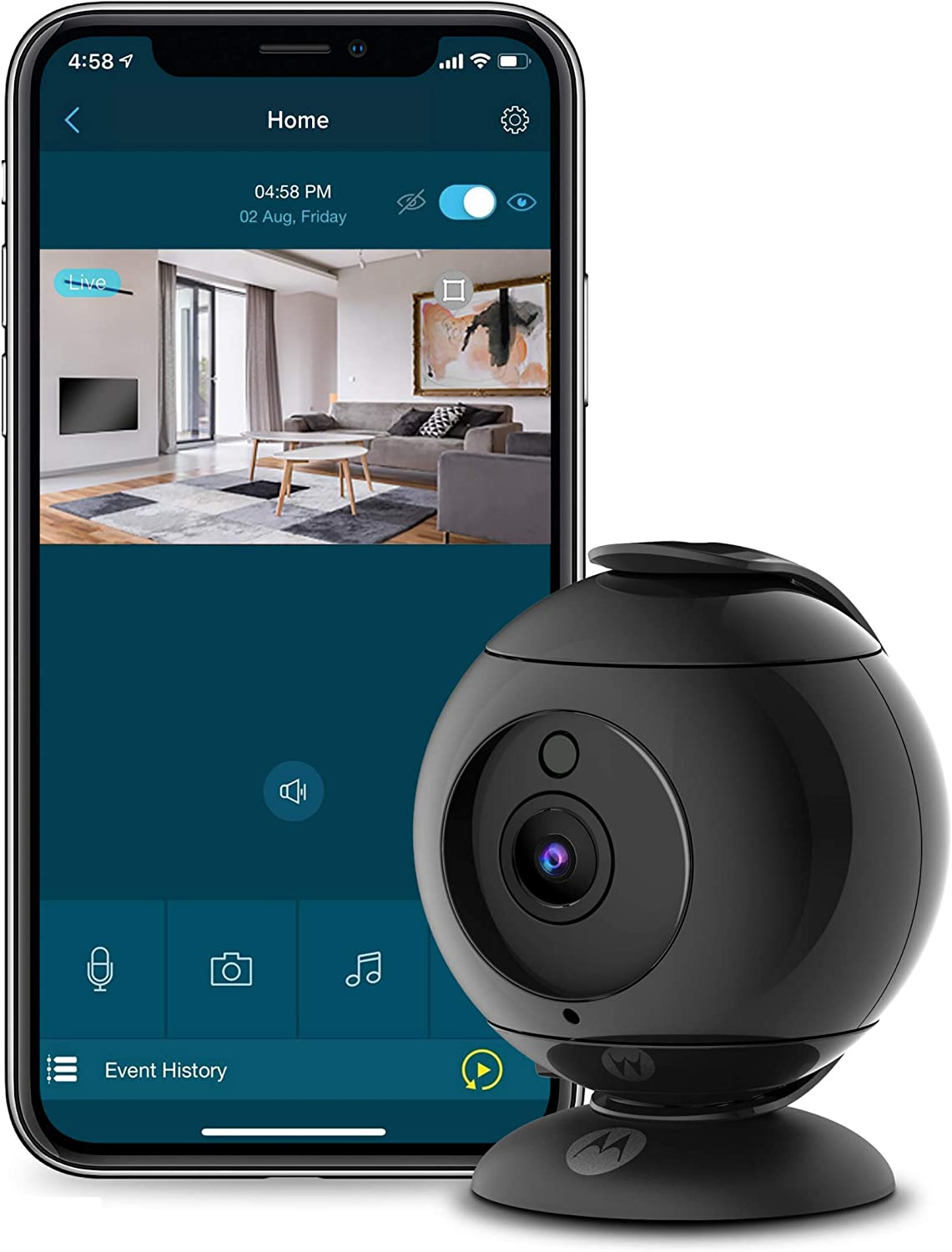 Motorola Focus89 Wireless Indoor Camera for Home – Security Surveillance System with Sound and Motion Detection, Remote Pan, Digital Zoom, Two-Way Talk – 1080p Video, Night Vision, Black