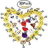 Cusfull Mini Emoji Portachiavi pezzi /Decorazioni/Faccine Portachiavi Emoticon Peluche per Zaino, Borsa, Perfetto Regalo per Bambini, Natale, Compleanni (32pcs)