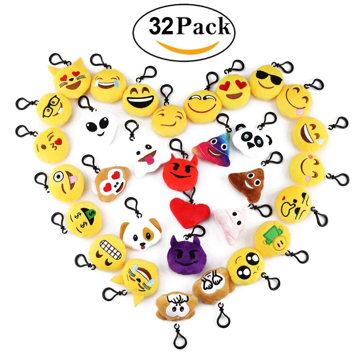 Cusfull Lot DE 20 Mini Emoji Porte-clés en Peluche Mignon Émoticône Emoji Emoji Sac à Dos Pendentif pour Décorations Enfants Cadeau de Fête Noël Party ,soirée ,Anniversaire,Cadeau de Pâques 43534