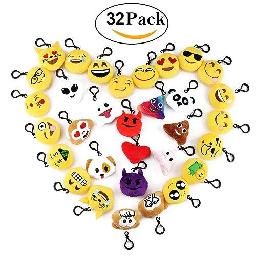 Cusfull Lot DE 32 Mini Emoji Porte-clés en Peluche Mignon Émoticône Emoji pour Cadeau De La fête des Mères Décorations Maison Cadeau de Pâques Enfants Cadeau de Fête Noël